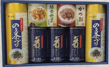 のり茶漬け 丸缶 5.4g×8袋×2/緑黄野菜ふりかけ 2.5g×10袋×1/かつおふりかけ 2.5g×10袋×1/味づけ海苔 10切れ×60袋×3
